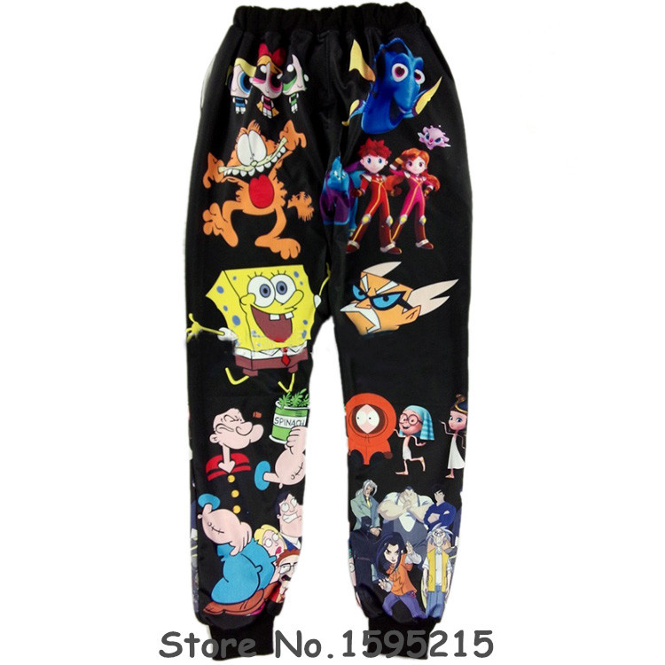 2017 Hot Harajuku SpongeBob Black/white Women Joggers Hip Hop Women Harem Pants Bodycon 3D Print Panties Large Size Sweatpants