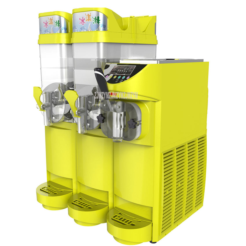 Two Tank 15Lx2 Slush Making Machine + 5.5L Soft Ice Cream Maker Machine Commercial Single Flavor Ice Cream Maker 110V/220V 580W