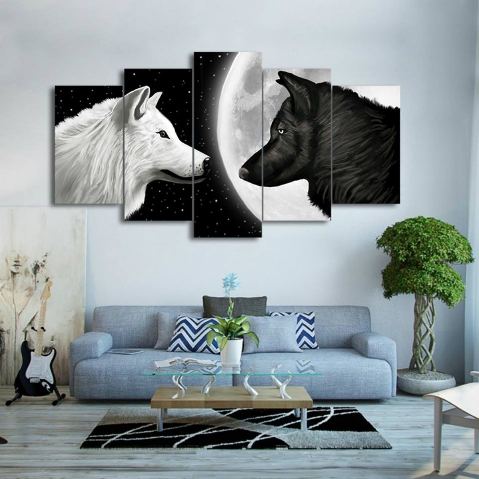 Painting Print Poster Wall HD Art For Living Kids Room Decorative 5 Pieces Pcs Wolf In The Moon Canvas Framework Modular Picture in Painting Calligraphy from Home Garden