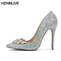 GGOB ручной работы овчины красочные хрустальные свадебные туфли Для женщин Обувь на высоком каблуке туфли лодочки 11 см Дизайнерская обувь Дл