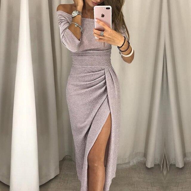 High Slit Off Shoulder Party Dress