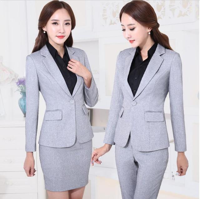 Diseños de uniformes de oficina mujeres Juegos de Bragas Para Mujer trajes de negocios trajes Formales Gris