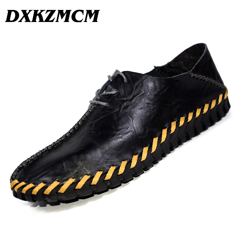DXKZMCM Men Casual Shoes Genuine Leather Men Loafers Handmade  Luxury Flats Shoes Men Chaussure genuine leather men casual shoes summer loafers breathable soft driving men s handmade chaussure homme net surface party loafers