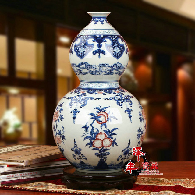 Qing Dynasty Ancient Home Decorate Porcelain Vase Blue And White