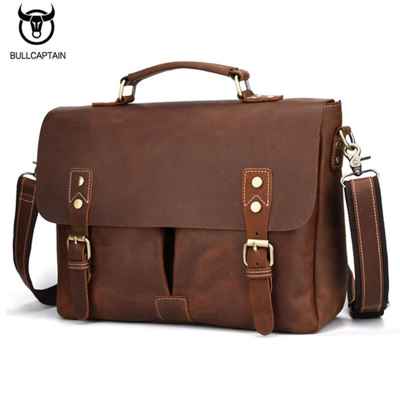 BULLCAPTAIN Vintage Men Genuine Leather briefcase Cowhide Business bag Crazy Horse Cowhide Laptop Men's messenger bag work tote bullcaptain new men crazy horse cowhide business cross body bag messenger briefcase travel casual shoulder bag leather bag