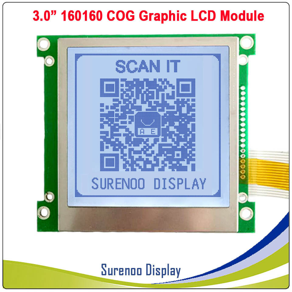 160*160 160160 Graphic Matrix COG LCD Module Display Screen FSTN Positive In White Backlight, Build-in UC1698U Controller