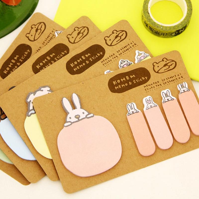 Cartoon Cute Rabbit Bunny Sticky Notes Creative Post Notepad Filofax Memo Pads Office Supplies School Stationery