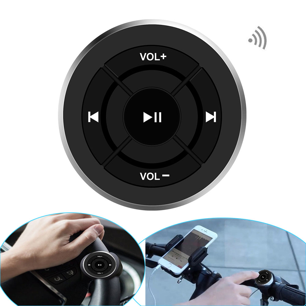 Telecomando wireless Bluetooth volante auto moto moto manubrio pulsante Media per iPhone per Samsung Android Phone
