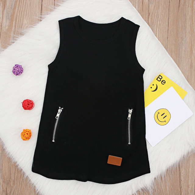 Infant Baby Girl Kids Black Sleeveless Solid Cotton Zipper Pocket Dress Outfit Clothing Casual Style School Wear Costume