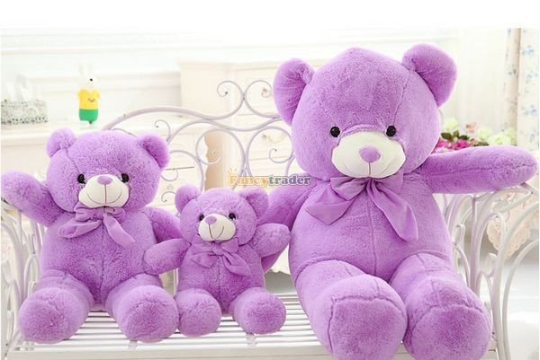 Fancytrader 1 pc 63\'\' 160cm Giant Cute Stuffed Soft Plush Lovely Fat Lavender Teddy Bear, Free Shipping FT50741 (8)