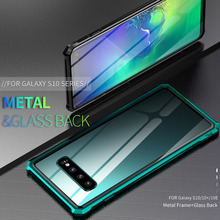 Luxury Shockproof Metal Armor Cover Case For Samsung Galaxy S10 Plus S10E Frame Bumper Back Clear Glass