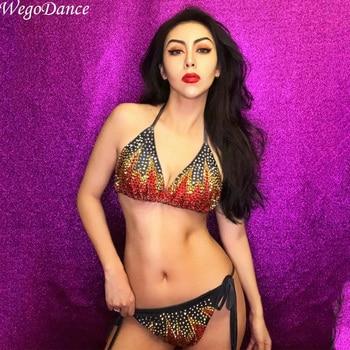 new Bright Rhinestones bikini Set Nightclub Singer Show singer dancer Women's Birthday Party Sets