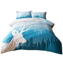 Svetanya олень печати постельных принадлежностей 100% хлопок постельное белье королева король размер пододеяльник набор синий цвет