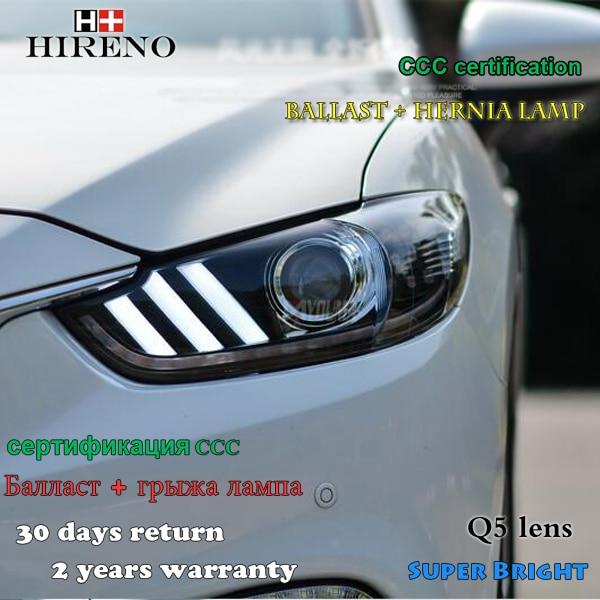 Hireno Headlamp For 2013 2015 Mazda 6 Mazda6 Atenza Mustang Headlight Assembly LED DRL Angel