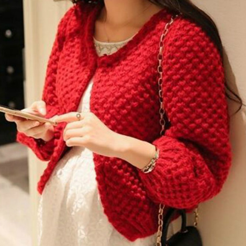 Autumn Mohair Sweater Knitted Cardigan Loose solid color wild Knit Lantern Sleeved hollow Coat Hook flowers Jacket Open Stitch