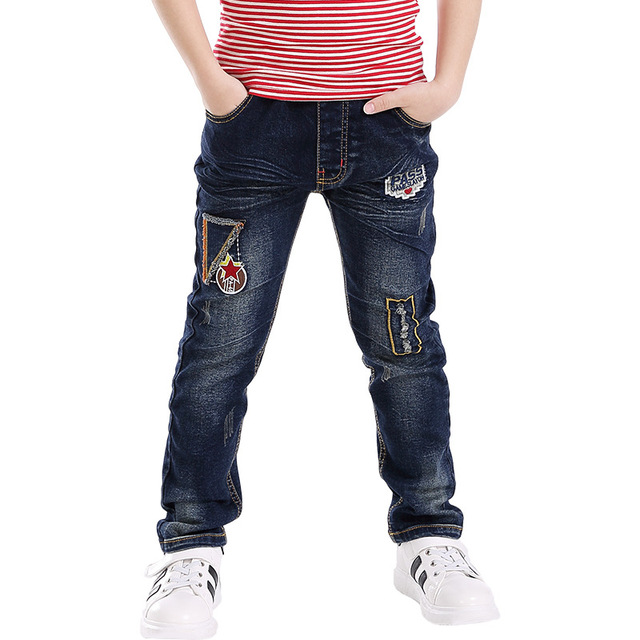 78d33489b Blue Boys Jeans Full Length Embroidery Denim Pants Boys Trousers 2018 Kids  Clothes For 3 4 6 8 10 Years Old RKP175016