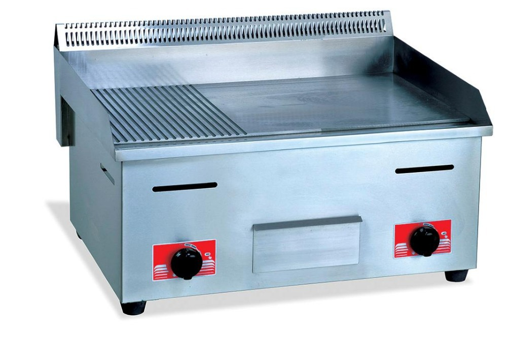 Gas flat & grooved frying cooking panel griddle stainless steel gas food frying griddle catering equipment
