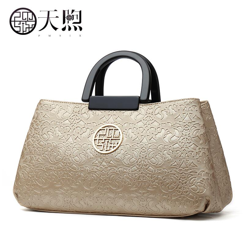 Pmsix2018 high-quality luxury fashion new Chinese style middle-aged women's bags embossed Messenger shoulder bag handbag large c pmsix2018 high quality luxury fashion new high grade leather ethnic embroidery handbags embroidered bag large shoulder bag