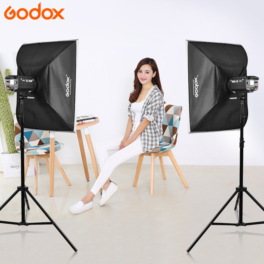 Godox 2x SL150 Studio Photo Accessories Flash Lighting Kit 5600K LED Video Light Lamp + 2x Softbox 60x90cm + 2x Light Stand