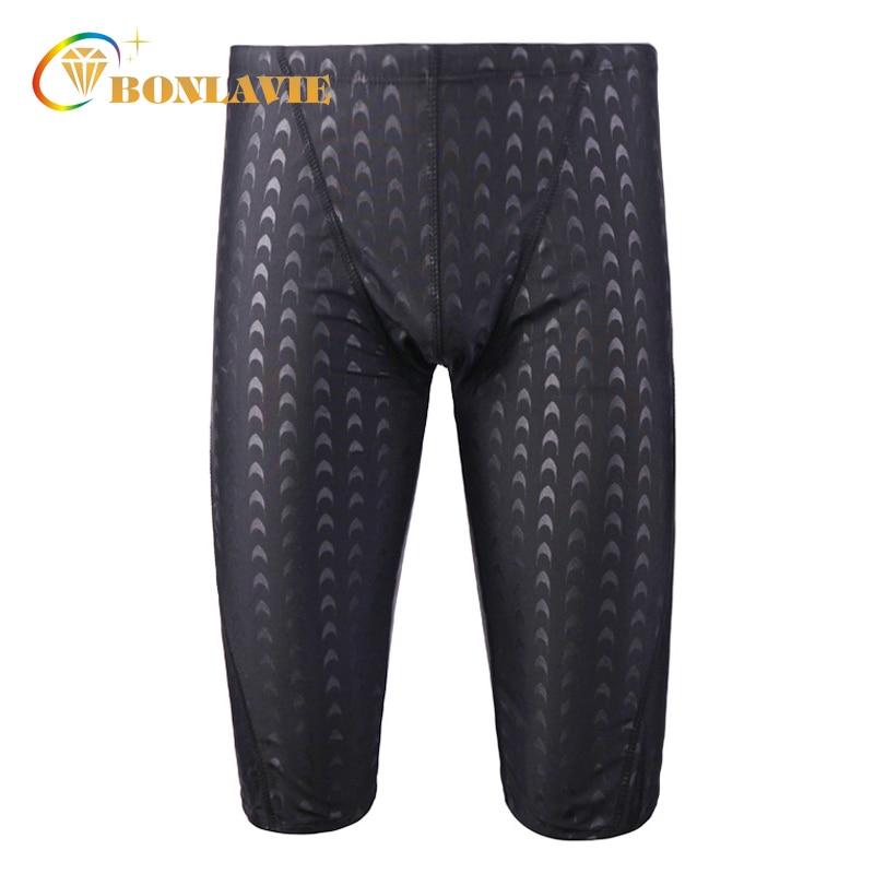 Men Swimwear Black Shark Skin Men's Swimming Trunks Quick Dry Plus Size Sunga Mens Swimming Shorts Adjustable Waist Gay Swimwear