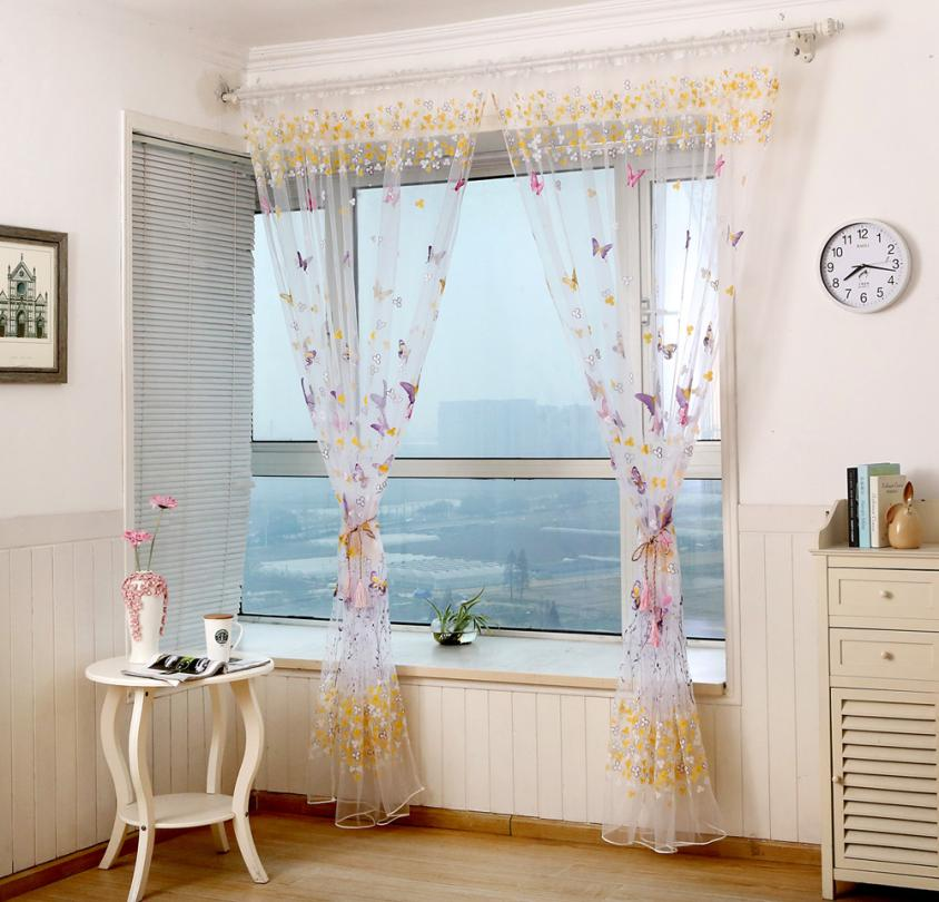 Curtains Butterfly Screens Door Balcony Printed Living room Cortinas Voile Panel Sheer Curtain 18FEB6