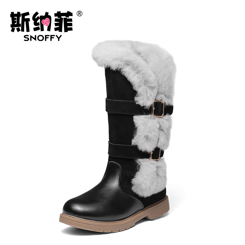 Kids Boots 2017 Winter Girls Genuine Leather Children Boots Real Rabbit Fur Girls High Warm Boots Outdoor Brand Shoes TX197 kelme 2016 new children sport running shoes football boots synthetic leather broken nail kids skid wearable shoes breathable 49