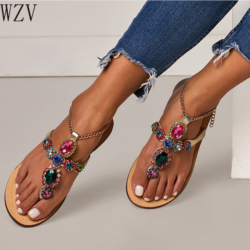 Plus Size 46 Roman Woman Sandals Women Shoes Rhinestones Chains Thong Gladiator Flat Sandals Crystal Chaussure Tenis Feminino