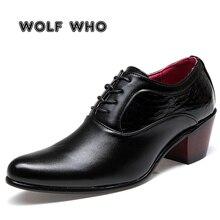 זאב מי יוקרה גברים שמלת חתונה נעלי מבריק עור 6cm עקבים גבוהים אופנה הבוהן מחודדת להגביר אוקספורד נעלי מפלגה נשף X 196