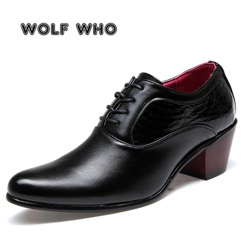 WOLF WHO Luxury Men Dress Wedding Shoes Glossy Leather 6cm High Heels Fashion Pointed Toe Heighten Oxford Shoes Party Prom X-196 pointed toe lace up oxford men shoes high heels embossed leather luxury party shoes brand design height increasing wedding shoes