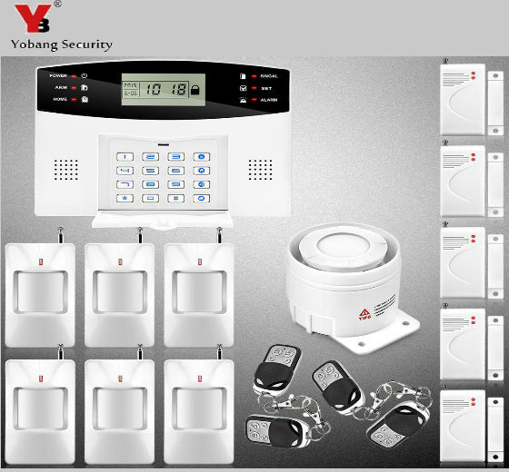 YobangSecurity 99 Wireless 7 Wired Defense Zones Home GSM Secure Alarm System Russian Spanish Czech Italian Alarm Sensor Kit yobangsecurity english spanish russian voice 4 wire 100 wireless defense zones gsm pstn home alarm system door window sensor kit
