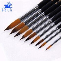 BGLN 9 шт. с длинной ручкой нейлоновые акварельные кисти для рисования гуашь акриловая кисть для рисования ручка pincel para pintura художественные пр...