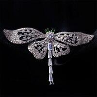 Woman Vintage Dragonfly Trâm Cài Corsages Đồ Trang Sức Shining Pha Lê Brooch Khăn Quần Áo Hijab Pins Lên Broach Phụ Kiện