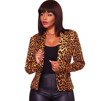 겨울 여성 표범 인쇄 슬림 재킷 재킷 노치 오피스 레이디 싱글 브레스트 재킷 의상 여성 재킷 코트 Feminino