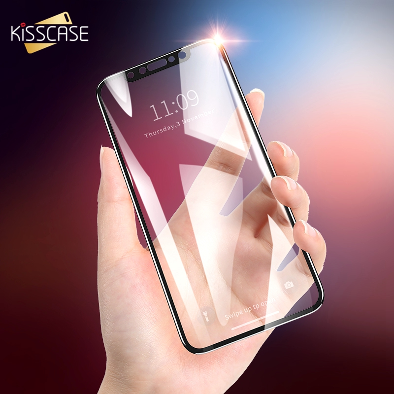 Galleria fotografica KISSCASE New 6D Full Screen Protector for iPhone X Carbon Fiber Tempered Glass For iPhone 6 6S Plus 7 8 X Soft Edge Glass Film