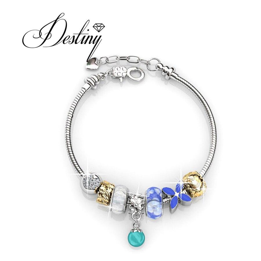 Destino Jóias Embelezado com cristais de Swarovski pulseira Pérola Charm Bracelet DB0096