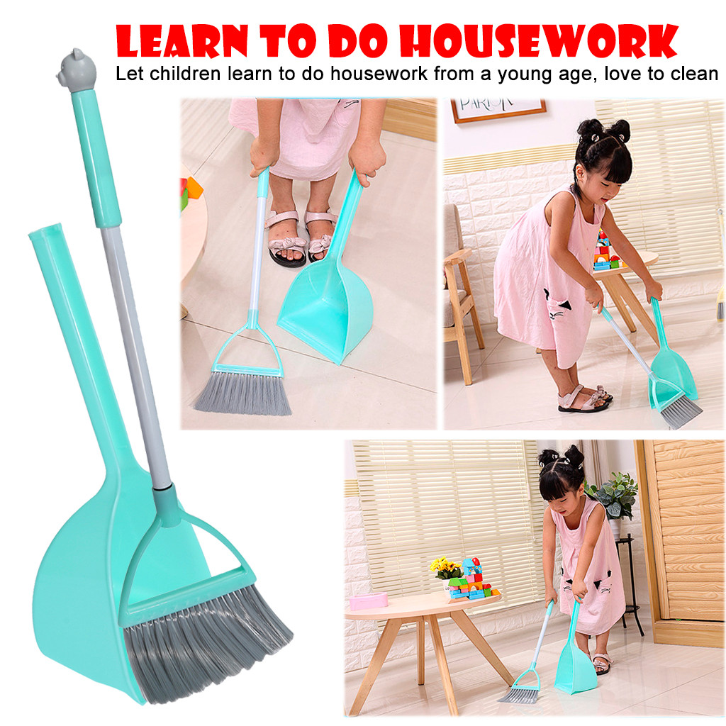 2019 Hot Sale  Kid's Housekeeping Cleaning Tools Set 3pcs, Small Mop Small Broom Small Dustpan Interesting Play House Toy Set
