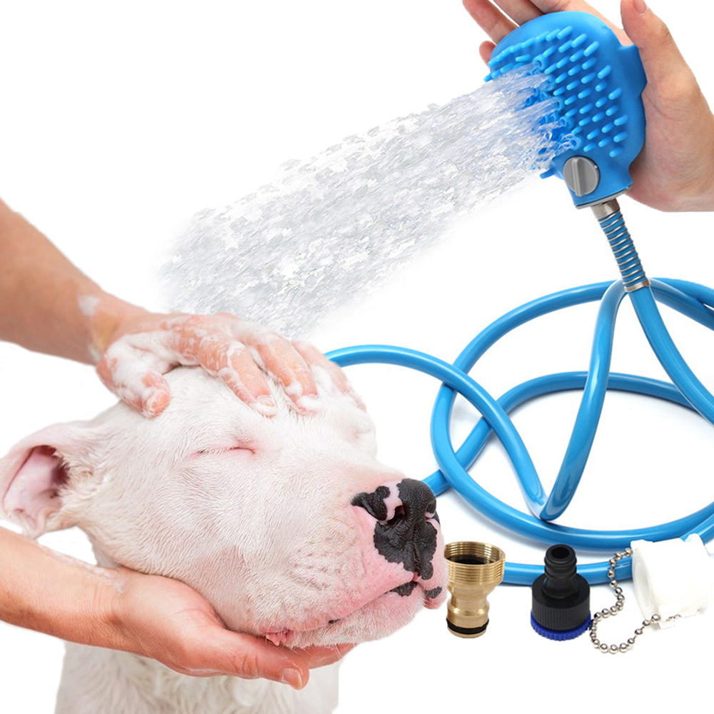 Silicone Pet Bathing Tool Comfortable Massager Shower Tool Cleaning Washing Bath Sprayers Dog Brush Pet Scrubber Hose Adapters