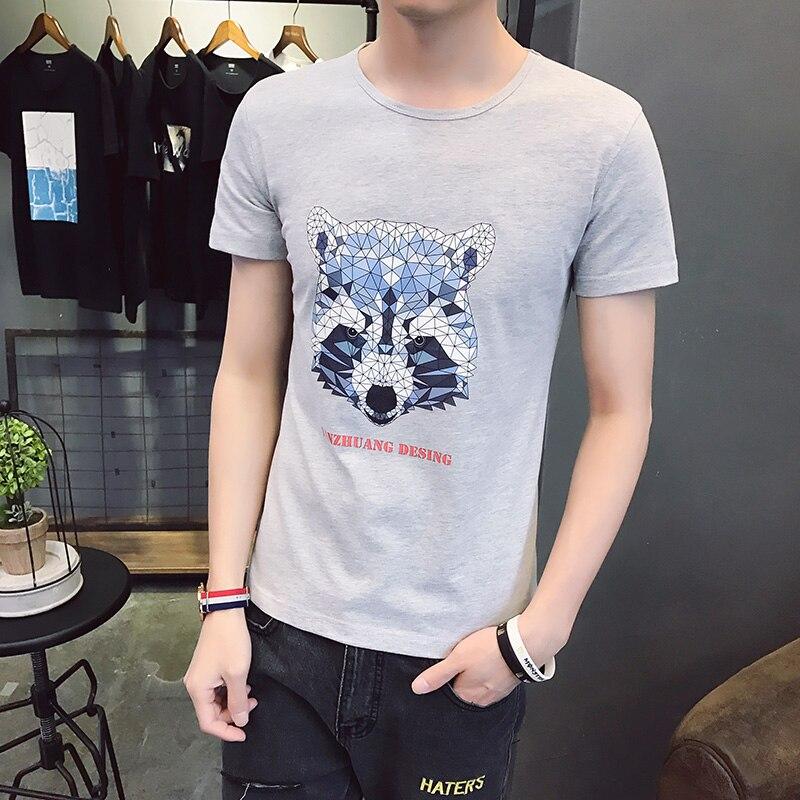 KUM Pure Cotton Short Sleeve T-Shirt Men Brand Clothing 2018 Spring Summer New Fashion Striped Print