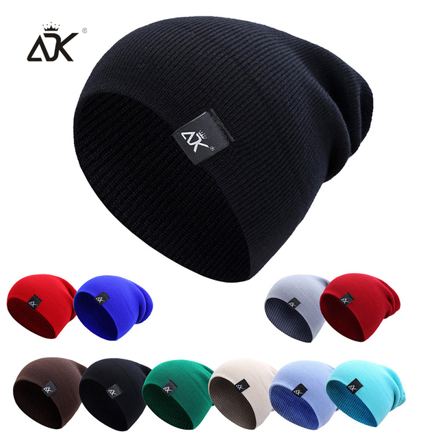Cotton Blends Hip Hop Beanies For Girl Winter Cap ADK Label Knitted Hat Female Unisex Solid Color Bonnet Casual Slouchy Skullies