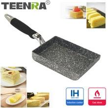 TEENRA сковороды из алюминиевого сплава для яичницы, мини сковороды, квадратная сковорода с антипригарным покрытием в японском стиле, сковороды для яичницы, кастрюли для завтрака