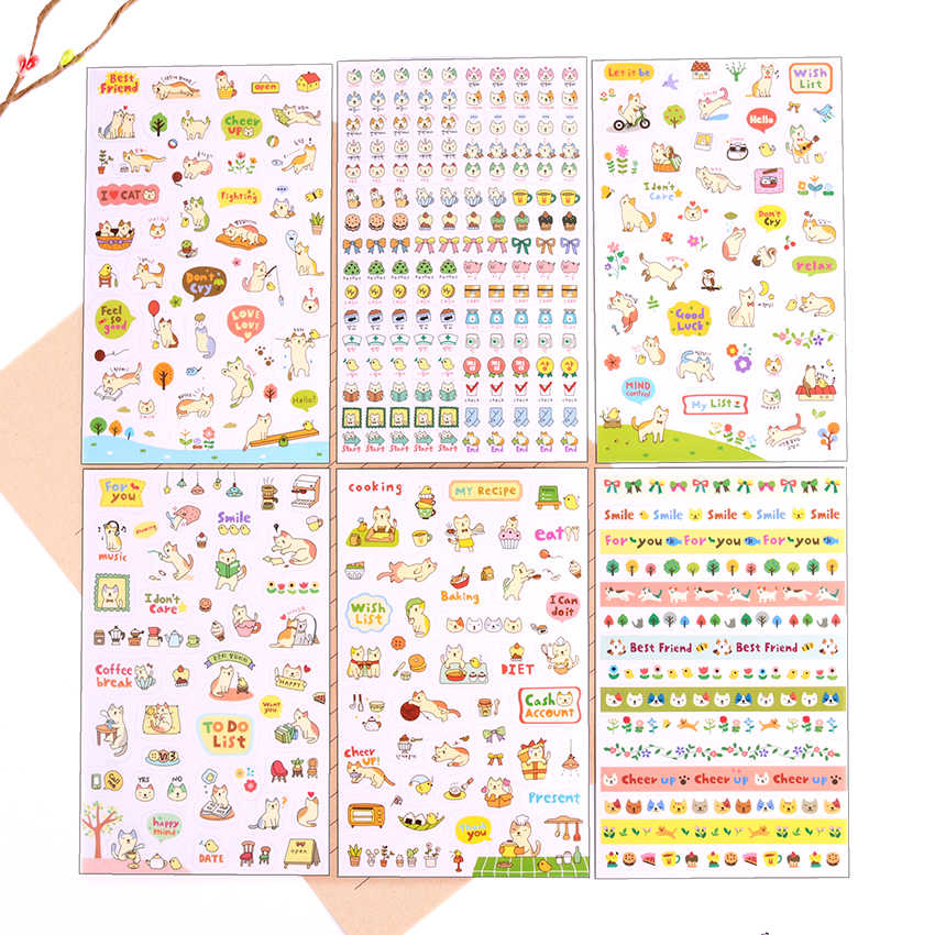6 PCS/Set DIY Kawaii PVC Cartoon Cat Stationery Stickers Children Toy Scrapbooking For Decoration Photo Album Diary Stationer