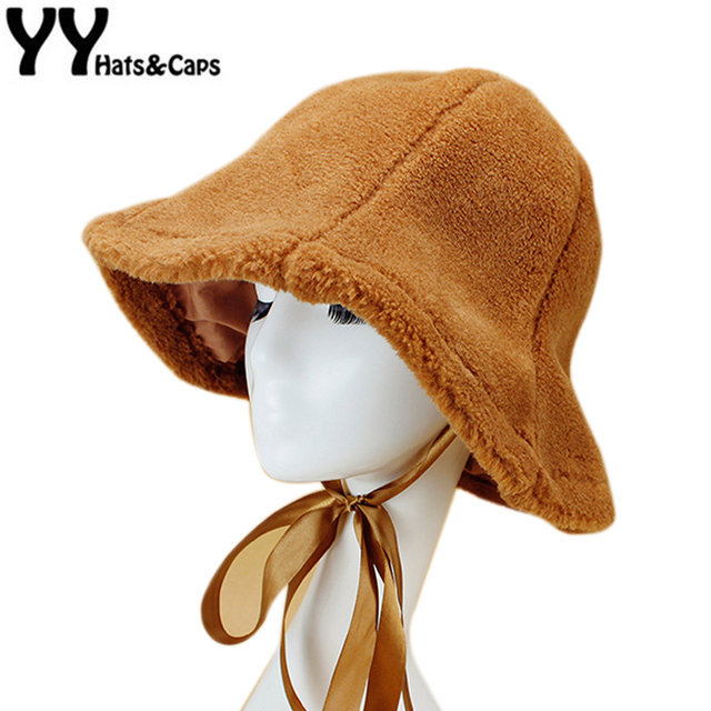 d812b070ba3 Cute Warm Bucket Hat For Women Russian Caps Girls Faux Fur Bucket Winter  Hats with Ribbon