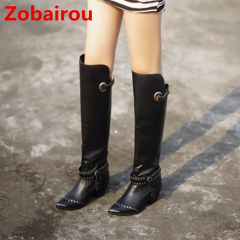 Zobairou Chaussure femme black genuine leather shoes over the knee thigh high boots rain boots platform botines shoes woman