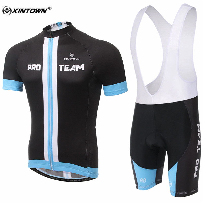 XINTOWN Black Comfortable Short Sleeve Cycling Jersey Set Sweat MTB Bike Clothing Bicycle Jerseys For Men Pro Road Clothes
