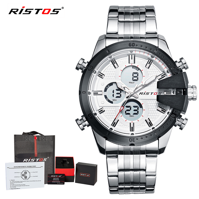 fce4b50610bb RISTOS Stainless Steel Man Sport Watches Male Chronograph Digital  Wristwatch Fashion Relojes Masculino Hombre Multifunction 9345