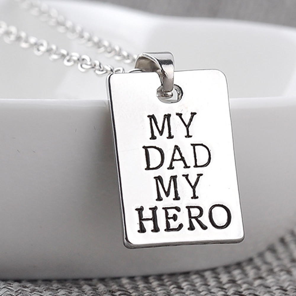 fashion rectangle my dad my hero letter charm pendant necklace chains family men accessories jewelry necklace