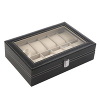 12 Slots Grid PU Leather Watch Display Box Jewelry Storage Organizer Case locked Watch Display Box with Black color Hot S
