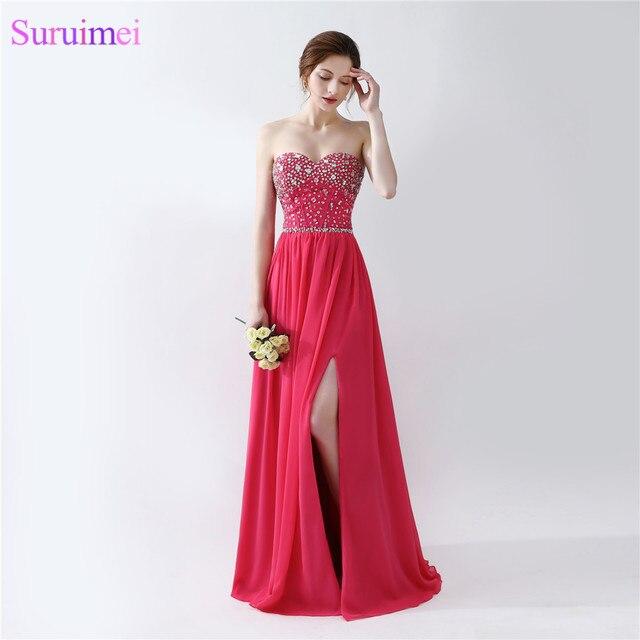 2669c6282bb3 2018 Rose Pink Evening Dresses Floor Length Beaded Semi Formal Side High  Slit Long Evening Gown Girls Evening Dress Vestidos De