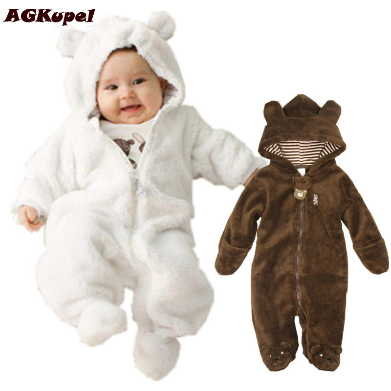 AGKupel Autumn Winter Baby Rompers Bear Style Baby Coral Fleece Hoodies Jumpsuit Baby Girls Boys Romper Newborn Toddle Clothing baby hoodies newborn rompers boys clothes for autumn magical hooded romper long sleeve jumpsuit kids costumes girls clothing