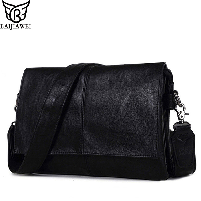 BAIJIAWEI 2017 New Men Leather Business Travel Bag Envelope Style Bag Large-capacity Messenger Bags High Quality PU Leather bags